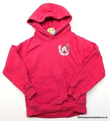7-8 years girls pink hoodie jumper horses riding Holly&Jasper on the back