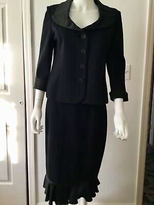 New St. John Evening Santana Knit Black Suit / Satin Trim Jacket Sz 4 Skirt Sz 6