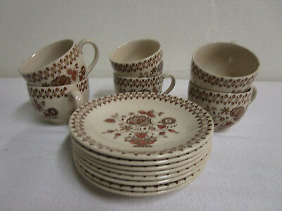 Johnson Brothers Jamestown Brown 6 CUPS & 8 SAUCERS Old Granite Staffordshire