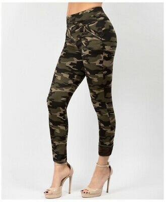 Ladies Girls Camo Leggings Trousers Pull On Comfort Camouflage New Womens Skinny