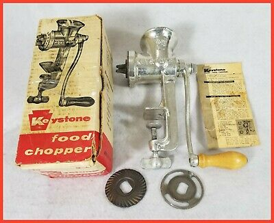 Vintage Keystone Food Chopper / Meat Grinder #20 w/ Original Box & Instructions