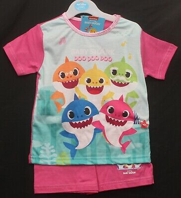 Girl's BABY SHARK Shorty PJs/Pyjama Shorts Set/Summer PJs 18 months-5 years