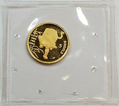 1986 Republic of Singapore 1/20 oz 5 Singold Pure Gold Tiger Coin Sealed in OGP