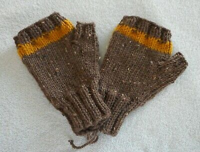 Hand Knit Fingerless Mittens Gloves  Brown with Gold Stripe  FREE SHIP  NEW!