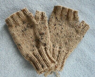 Hand Knit Fingerless Mittens Gloves  Khaki Tan with Flecks  FREE SHIPPING  NEW!