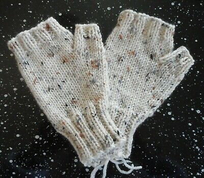Hand Knit Fingerless Mittens Gloves  Natural Ivory with Flecks  FREE SHIP  NEW!