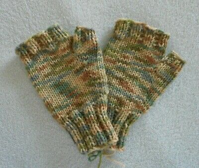 Hand Knit Fingerless Mittens Gloves  Tan Green Blue Multi Color  FREE SHIP NEW!