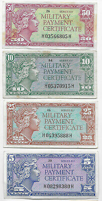 1960's United States Military Payment Certificates- Series 611, Lot of 4