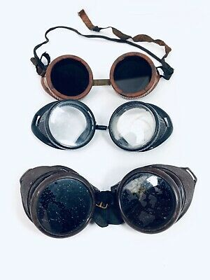 Vintage Steampunk Googles Motorcycle Gothic Safety Welding Dome Shape Lot Of 3