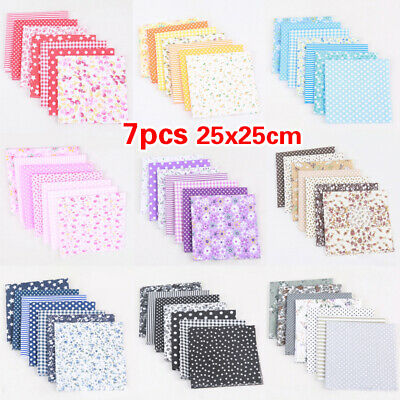 7Pcs DIY Mixed Pattern Cotton Fabric Sewing Quilting Patchwork Crafts A