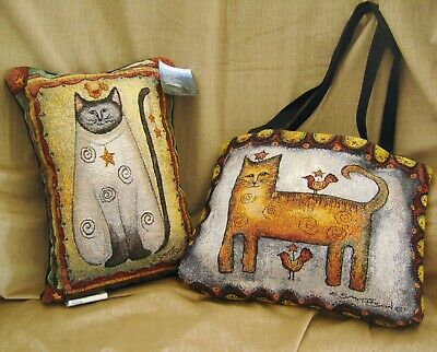New Tapestry Cat Tote & Pillow Set Manuel Woodworkers & Weavers DS15