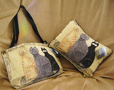 New Tapestry Cat Tote & Pillow Set Manuel Woodworkers & Weavers DS16