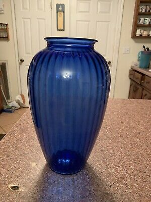 Large Vintage Cobalt Ancho Hocking Blue Ribbed Glass Vase
