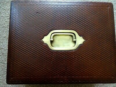 Antique Victorian portable leather Writing Slope/ Box circa 1890 with key