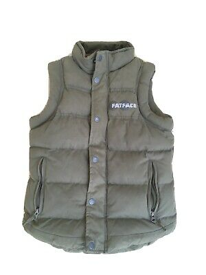 Boys Fat Face Padded Gilet age 10-11 Green Corduroy Lined Zipped Pockets
