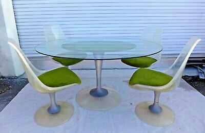 Vintage Chromcraft Dining Set Oval Glass Table 4 Acrylic Chairs Fuzzy Green Mod