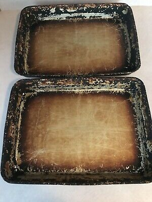PIZZA HUT BREAD STICK BAKING PANS  9 x 13 Seasoned And Used Lot Of 2
