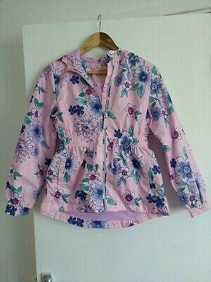 George Pink Floral Hooded Zip Raincoat Jacker Mac Age 11-12YRS Great Condition