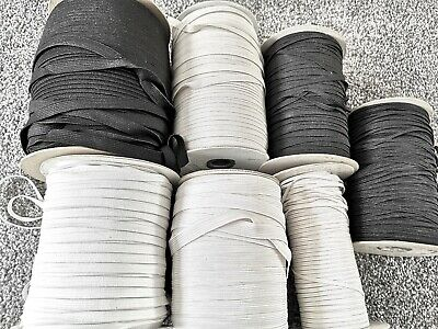 1 METRE GOOD STRONG QUALITY FLAT WOVEN ELASTIC BLACK & WHITE 3mm 4mm 5mm 6mm
