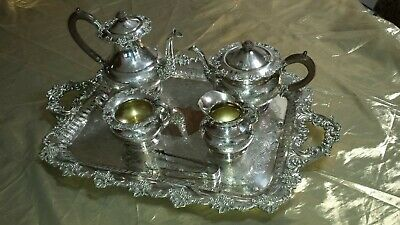 Old English Reproduction 6 piece Elegant Tea & Coffee Service - Wm A Rogers