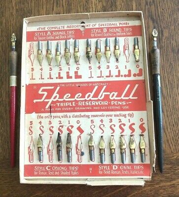 Vintage Speedball Pen Nibs in Box with 2 Hanover 70 Pens with Cork
