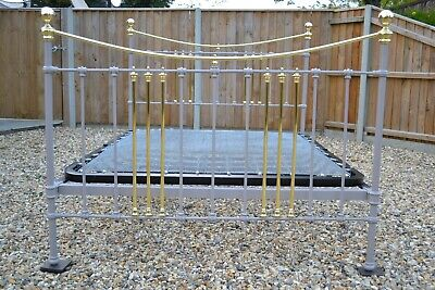 Old Antique Victorian Brass and Iron King Size 5ft Bedstead in & new bed base