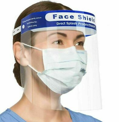 2-Pack Safety Face Shield Protection Cover Guard Reusable Transparent Anti-Fog