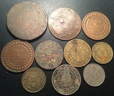Tunisia - French Colony - Set of x10 Coins of 1855 to 1954