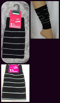 ADAMS Girl Black Leg Warmers : Silver sparkle Stripes One Size COTTON RICH