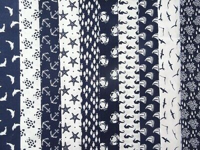 Fat Quarter / Half Metre 100% Cotton Patchwork Craft Nautical Prints