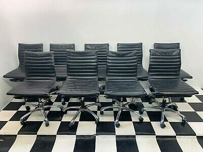 Set of 9x Charter Furniture office task desk chairs chrome swivel bases eames