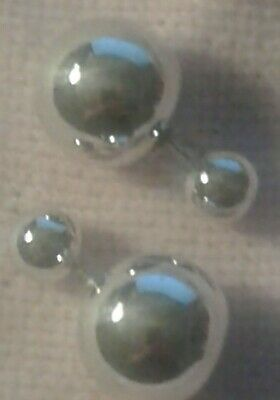 Sterling Silver Half Ball Stud Earrings with Diamond Dust Texture
