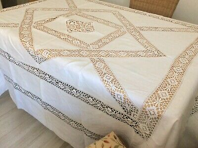 Unused Antique Linen Tablecloth/Bed Cover French Torchon Bobbin Lace Inserts