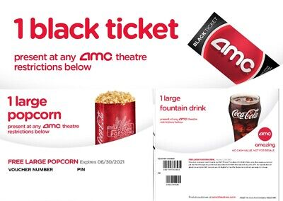 COMBO AMC Black Movie Ticket+Drink+Pop Instant Delivery by Email in 24 hours