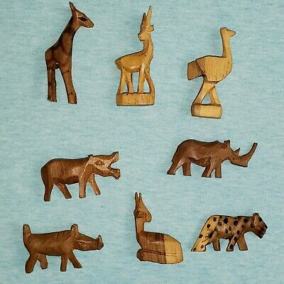 Vintage Wooden Figurines, Miniature Carved Wooden African Safari Animals