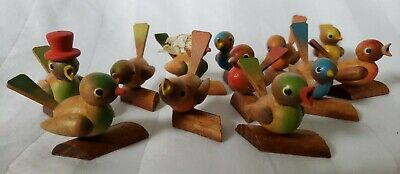 12 Wooden Small Birds Vintage Made in Germany (East)