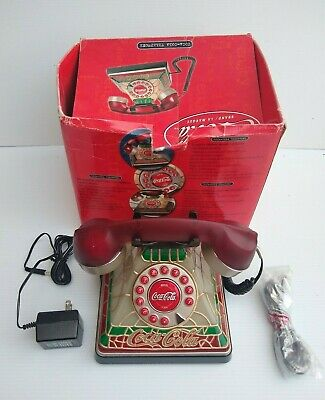 Coca Cola Phone Vintage Stained Glass Home Telephone Light Up