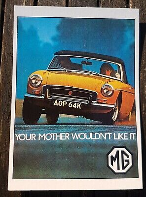 MGB Roadster 1971 Your Mother Wouldn't Like It Vintage Ad Gallery Postcard *MINT