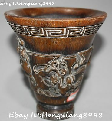 Marked Chinese Oxhorn Ox Horn Carving Dragon Loong Pixiu Beast Cup Cups Statue