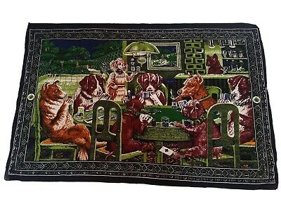 Anthropomorphic Man Cave Dogs Playing Cards Vintage Wall Tapestry Size 38X57