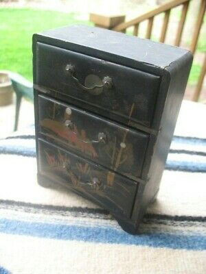 JAPANESE Chest drawers  Mini Vintage Laquered Black