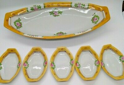 Vintage Hand Painted Nippon Japan Yellow Sushi Celery Dish & 5 Trays Porcelain