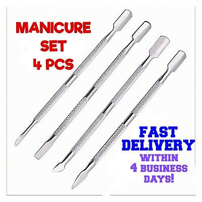 Nail Pusher Cuticle Remover Manicure Pedicure Stainless Steel Tool 4 Pcs New Set