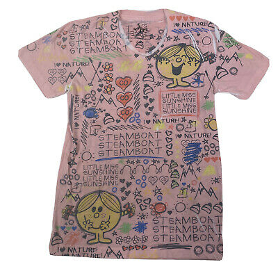 Mr. Men Little Miss Sunshine Juniors L Short Sleeve V-Neck Pink Shirt Top