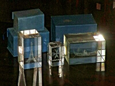 Job Lot 3D Laser Etched Glass Crystal Ornaments Paperweight Souvenir Boxed