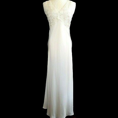 FLORA NIKROOZ SAKS 5th IVORY LEAFY-LACE SILKY BIAS-CUT LONG EMPIRE NIGHTGOWN M