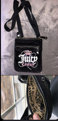 Juicy Couture Over The Shoulder Hand Bag Black Felt Barely Pink Used