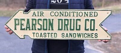 RARE 30's PEARSON DRUG CO. Sandwiches Die Cut Embossed Directional Arrow Sign