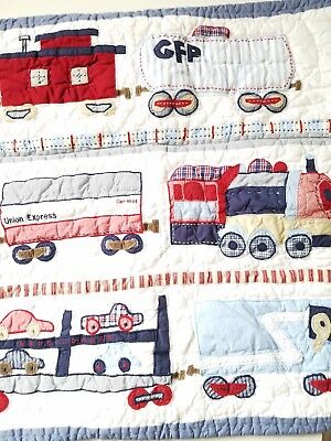 Pottery Barn Kids Railway Express Bedding Blue Trains Euro Pillow Sham
