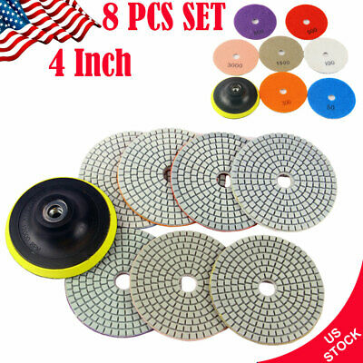 8PCS Set Diamond Polishing Pads 4 inch Wet Dry Granite Marble Concrete Stone New